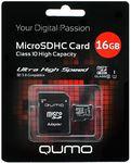 Карта памяти microSDHC [класс 10/UHS-I] 16 GB Qumo+ SD адаптер