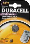 Батарейка дисковая литиевая тип CR2032, Duracell (1шт в блистере), ш/к-023369 {1/10}