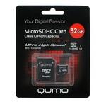 Карта памяти microSDHC [класс 10/UHS-I] 32 GB Qumo+SD адаптер