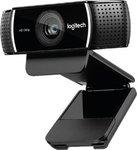 Камера Logitech HD Pro Stream WebCam C922, Full HD 1080Р, штатив, USB, чёрный (960-001088)