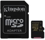 Карта памяти microSDXC [класс 10/UHS-I/U3] 64 GB Kingston+SD адаптер (90/45MB/s) (SDCG/64GB)