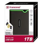 """Накопитель HDD 1000 Gb USB3.1 Transcend StoreJet 25M3S TS1TSJ25M3S, 2,5"""" внешний,обрезиненный, противоударный, серый/зеленый"""