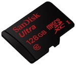 Карта памяти microSDXC [класс 10/UHS-I] 128 GB SanDisk Ultra+SD адаптер
