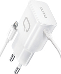 Зарядное устройство сетевое Qumo Energy (Charger 0026) Lightning 8 Pin, 2.1A, белый 30550