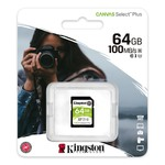 Карта памяти SDXC [класс 10/UHS-I]  64 GB Kingston Canvas Select Plus (100/10 Mb/s) (SDS2/64GB)