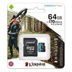 Карта памяти microSDXC [класс 10/UHS-I/U3] 64 GB Kingston Canvas Go Plus+SD адаптер (170/70MB/s) (SDCG3/64GB)