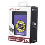 """Накопитель HDD 2000 Gb USB3.0 Transcend StoreJet 25H3 TS2TSJ25H3P, 2,5"""" внешний,обрезиненный, противоударный, фиолетовый"""