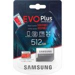 Карта памяти microSDXC [класс 10/UHS-I/U3] 512 GB Samsung EVO Plus +SD адаптер (100/90MB/s) (MB-MC512HA/RU)