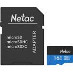 Карта памяти microSDHC [класс 10] 16 GB Netac P500 + SD адаптер (80MB/s) (NT02P500STN-016G-R)