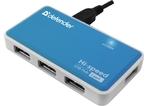 Разветвитель USB 2.0  DEFENDER QUADRO POWER USB2.0, 4 порта, блок питания