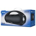 Колонки портативные 2.0 Sven PS-420 RMS 12W, Bluetooth, микрофон, FM, USB, microSD, дисплей, питание от аккумулятора, чёрный