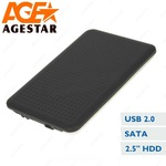 """Внешний модуль AgeStar SUB2O7 2.5""""SATA,алюминий+пластик черный, USB2.0"""